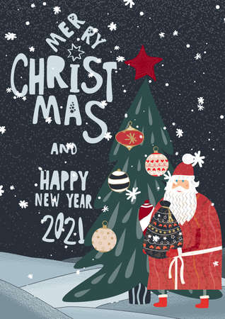 Merry Christmas and Happy New Year 2021 greeting card. Banque d'images - 158243017