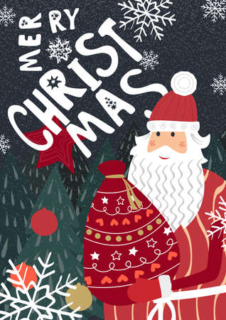 Merry Christmas greeting with Santa Claus greeting card. Illustration
