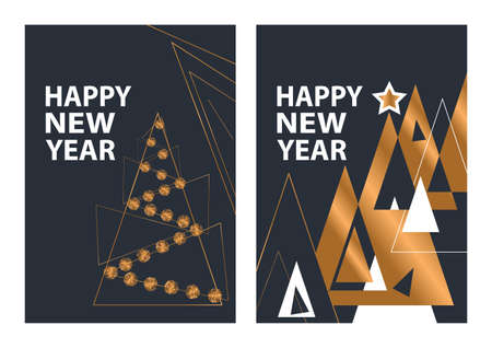 Set of modern Happy New Year greeting card.