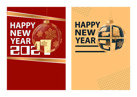 Set of Happy New Year 2021 greeting card. Illustration