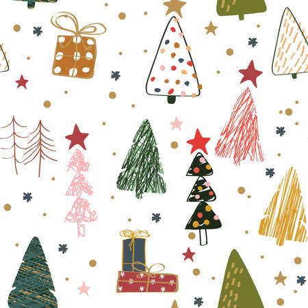 Merry Christmas and Happy New Year 2021 seamless pattern Illustration