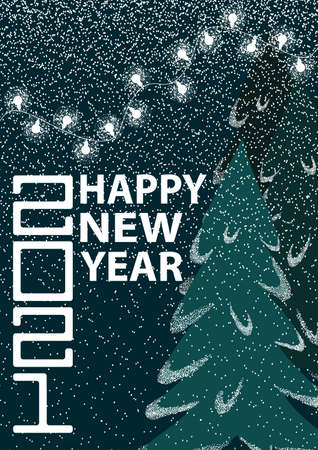 Set of Happy New Year 2021 greeting card. Banque d'images - 158389392