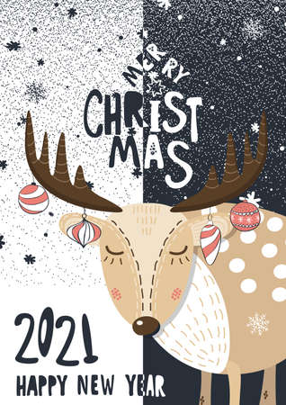 Merry Christmas and Happy New Year 2021 greeting card. Banque d'images - 158414641