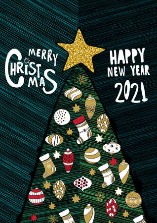 Merry Christmas and Happy New Year 2021 greeting card.