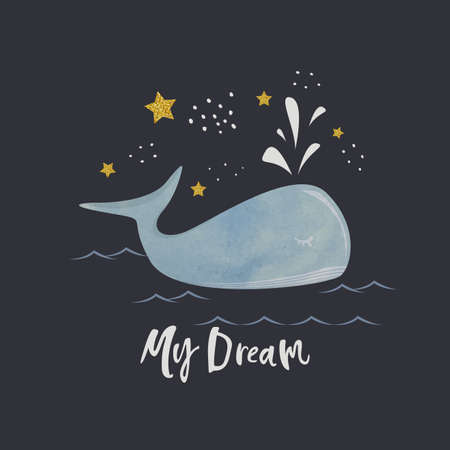 A whale swims in the ocean on a starry night background with the inscription my dream.