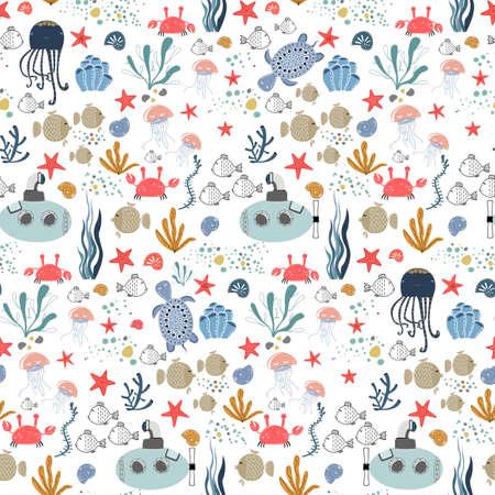 Marine baby seamless pattern with cute marine life