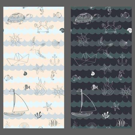 Set of Marine baby seamless pattern with cute marine life