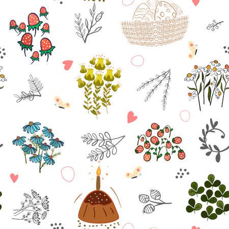 Cute hand drawn Easter seamless pattern with bunnies, flowers, easter eggs.