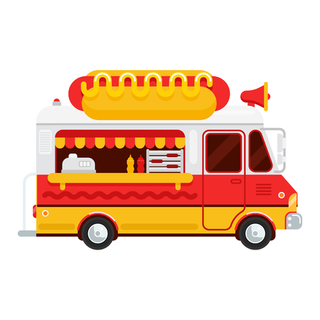 The colorful cute hot dog van vector flat illustration Illustration
