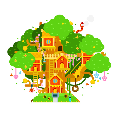 door swings: Children treehouse colorful vector illustration with houses,