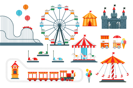 Amusement park vector flat elements isolated on white background
