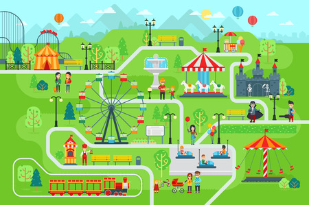 Amusement park map infographic elements in flat vector design. Stock Illustratie