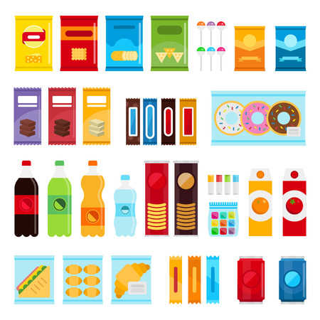 Vending machine product items set. Vector flat illustration.