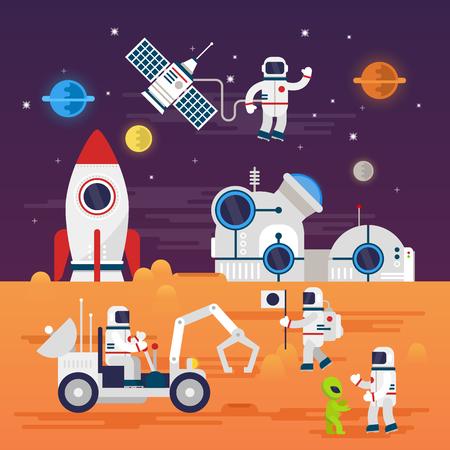 Astronautas caracteres ubicado en el estilo de dibujos animados plana. Ilustración de vector
