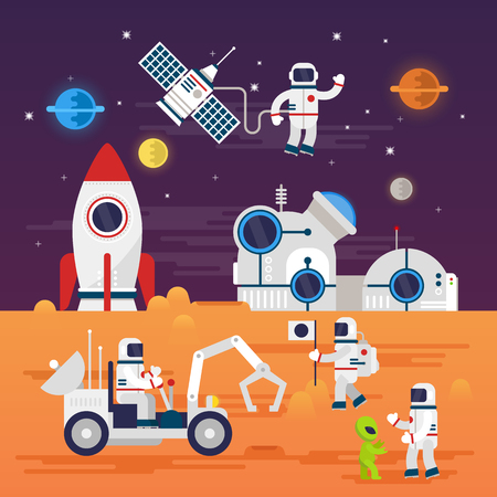 Personaggi di astronauti impostati in stile cartoon piatta. Vettoriali