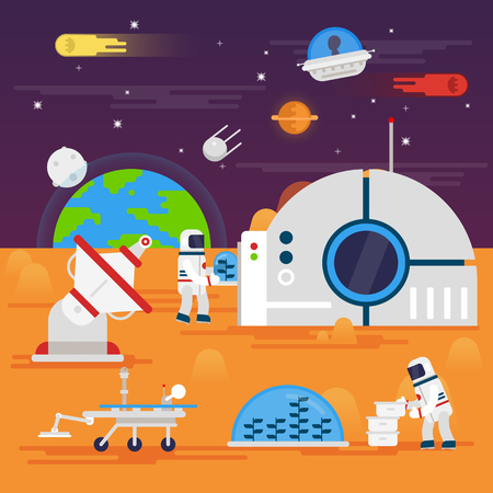 rover: olonization of Mars. Space landscape, rover, astronaut , earth, planets, stars.