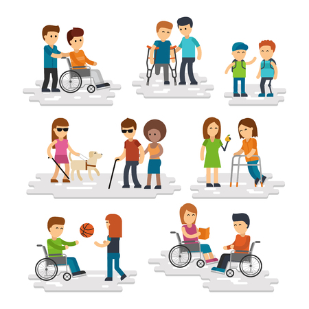 Disability person vector flat. Young disabled people and friends helping them Illustration