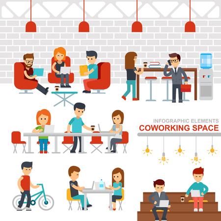 Coworking space infographic elements vector flat design illustration. Stock Illustratie