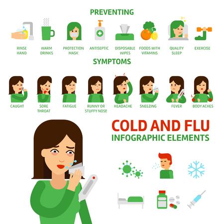 Flu y elementos de Infographic resfriado común. Prevención, síntomas y tratamiento de la gripe. Iconos médicos. La mujer sufre resfriados, fiebre ilustración vectorial aislado plano sobre fondo blanco stock vectorial.