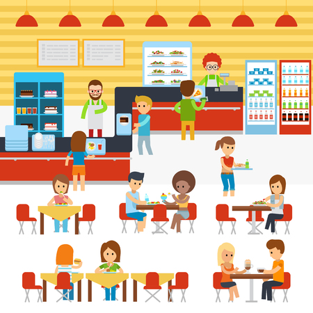 Cafeteria vector, people in canteen, people eating in the cafeteria. Catering restaurant and canteen freshly cooked warm meals service.
