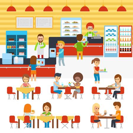 W kafeterii wektor, ludzie w stołówce, ludzie jadający w stołówce. Catering restauracja i stołówka świeżo ugotowane ciepłe posiłki obsługa.