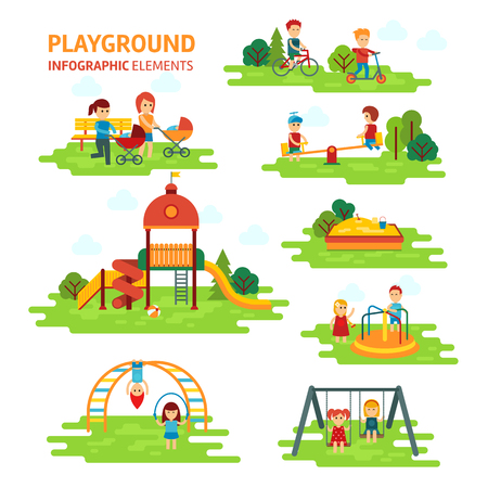 family park: Playground infographic elements vector flat illustration, children play on the outdoors, in the sandbox, boys and girls go for a drive on a swing. Mom walking with children