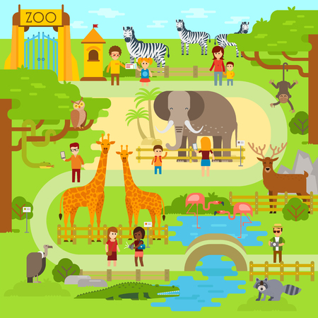 Zoo vector flat illustration. Animals vector flat design. Zoo infographic with elephant. People walk in the park, zoo. Zoo map, banner Vettoriali