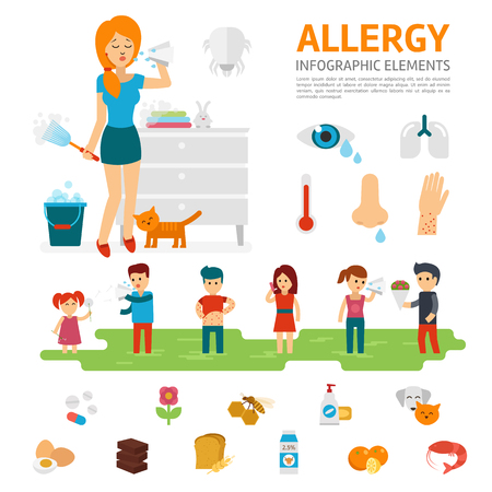 pollen: Allergy infographic elements vector flat design illustration. Woman sneezes and allergens icons. People with allergies.