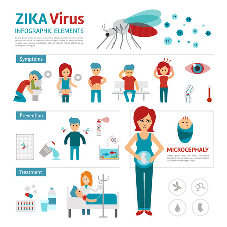 Zika virus infographic elements. Vector flat design illustration. Zika prevention, symptoms and treatment.