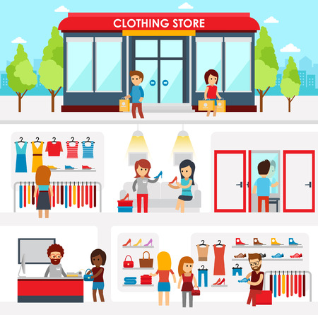 clothing shop: People shopping in the clothing store. Shop Interior. Colorful vector illustration design, infographic elements, banners in flat style. Clothing store facade on street