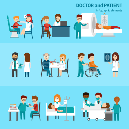 Medical infographic elements with doctor and patients treatments and examination flat pictograms with healthcare symbols abstract isolated vector illustration on blue background