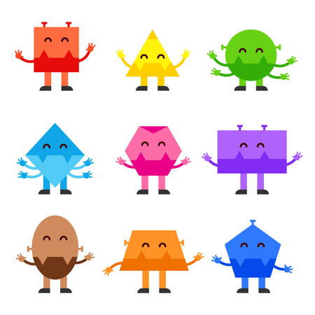 Geometric shapes funny monsters cartoon vector character design for children education games, kindergarten.