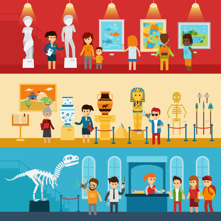 Art gallery visitors and antique museum of paleontology flat banners abstract isolated vector illustration. People look at the exhibition with guide, excursion to the museum.