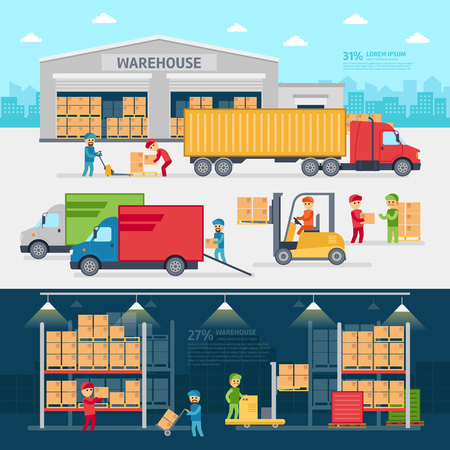Warehouse infographic elements vector flat design.
