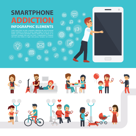 smart: Smartphone addiction infographic elements with icon set, people with phones. Man hugs phone. Flat vector design. Banner, elements to use for web.
