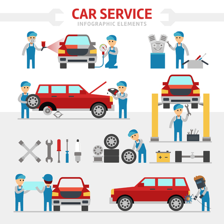 vulcanization: Car repair service flat vector illustration. Infographic elements. People repairing cars and make tuning. Changing a wheel, painting, glass replacement