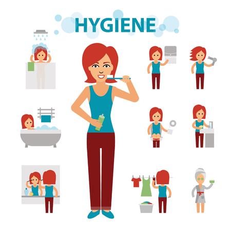 위생 정보 요소. 여자는 바쁜, 청결, 입욕, 화장실, 세탁, 목욕, 칫솔질, 손 씻기, 화장 중입니다. 일러스트