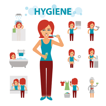 Hygiene infographic elements. Woman is busy, cleanliness, bathing, toilet, laundry, taking a bath, brushing teeth, washing hands, doing makeup. Ilustração