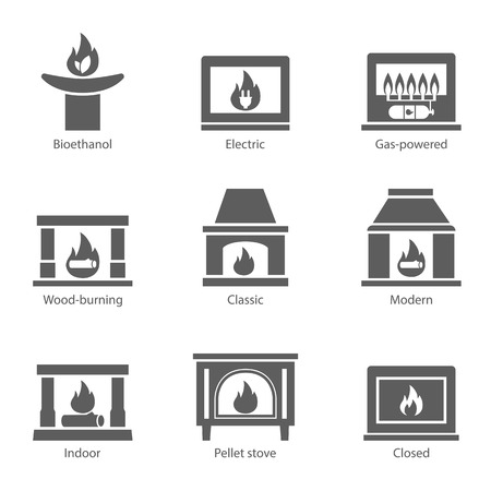 gas fireplace: Fireplace icons set vector flat sign isolated on white background. Stove fireplace, biofireplaces, electric, wood-burning, classic, modern, indoor, pellet-stove, gas-powered icons