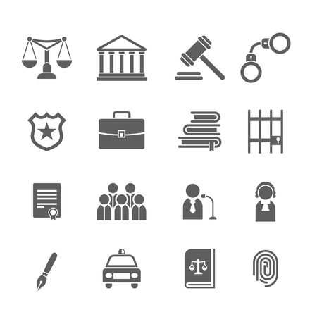sheriffs: Set of black and white law and justice icons.Judge, gavel, lawyer, scales court, jury, sheriffs, star, law books, briefcase, scribe, prison