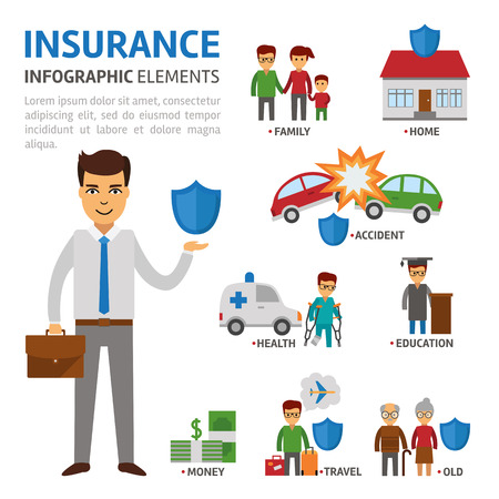 Insurance broker infographic elements, vector flat illustration on white background. Protection of people in difficult situations. Insurer with shield