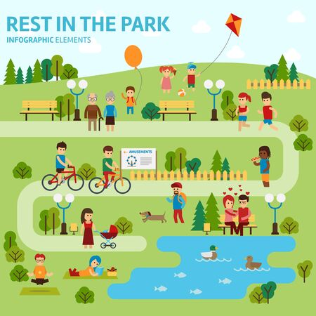 mother and baby: Rest in the park infographic elements flat vector design. People spend time relaxing in nature. Parents and children are walking in the park, a couple in love is sitting on the bench. Man, woman set