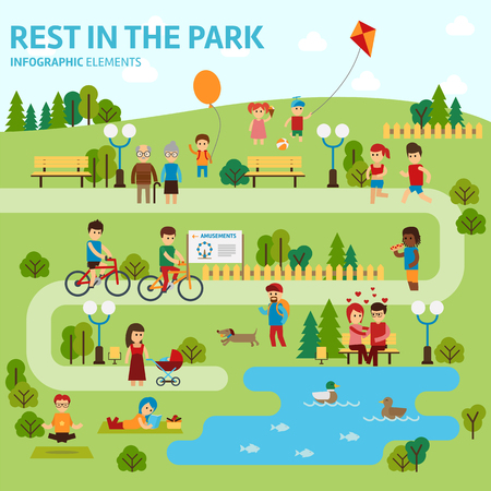 Rest in the park infographic elements flat vector design Ilustração