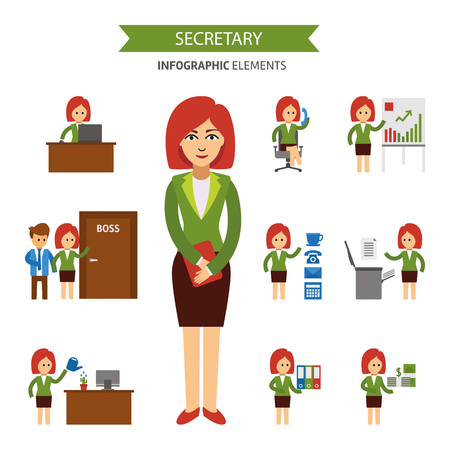 Secretary at work infographic elements. Business woman working in the office, a presentation, talking on the phone, meet with the staff, working at computer, receives a salary 向量圖像