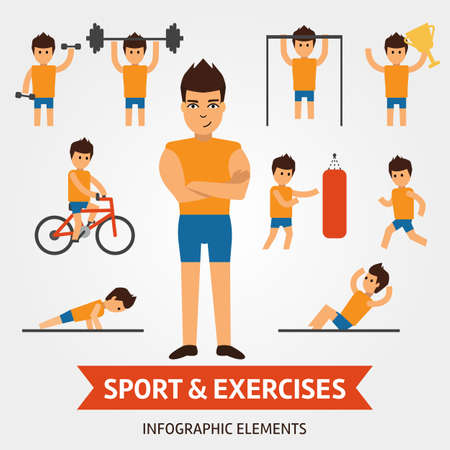 Sport and exercises infographic elements. Sportsman is engaged in the gym, pushes, hold the dumbbell, shakes the press, riding a bike, winner of championship, holding award. Stock Photo