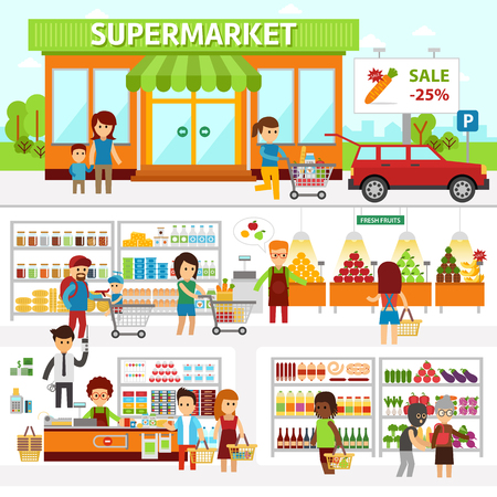 Supermarket infographic elements. Flat vector design illustration. People choose products in the shop and buy goods. Man and woman standing at the checkout in a store Standard-Bild