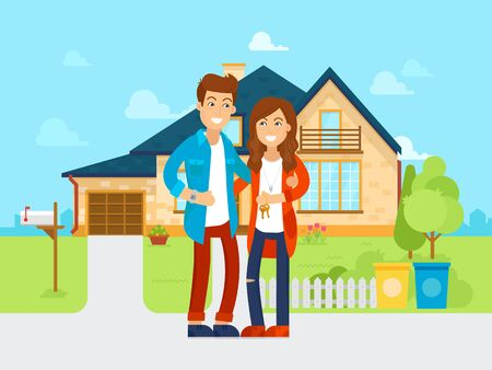Young people bought the new house vector flat illustration. Happy family is moving into new home. Cartoon characters of the husband and wife.