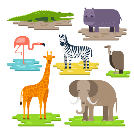 white nile: Set of African animals on the pieces of land vector flat design. Giraffe, elephant, Nile crocodile, hippopotamus, zebra, flamingos, African white-backed vulture. Animals to infographic design Illustration