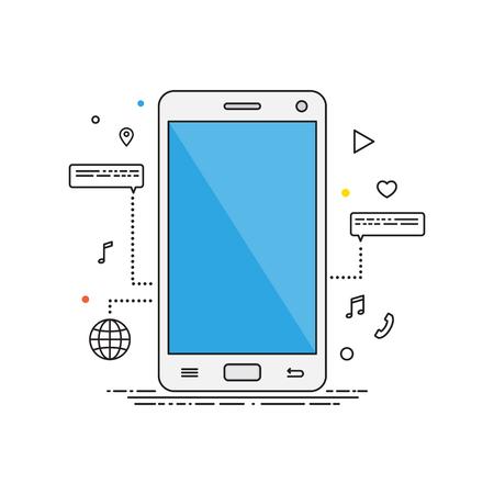 using smart phone: Smartphone lines design illustration. Smartphone vector flat Illustration