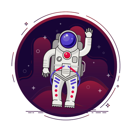 Astronaut is flying in outer space concept vector illustration in flat design with lines elements. Ilustrace